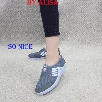 Alisa Shoes รองเท้าผ้าใบแฟชั่น รุ่น 99Q010 Grey