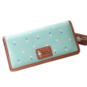 หญิงสาวดอกไม้แบบหนังเทียมกระเป๋าถือกระเป๋าสตางค์กระเป๋าถือบัตรคลัตช์สีเขียว