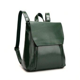 ST MartShop กระเป๋าเป้สะพายหลังหนังแท้ รุ่น st168 (สีเขียว)