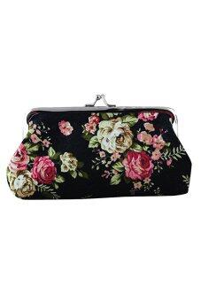 Sanwood พวงกุญแจกระเป๋าสตางค์กระเป๋าใส่บัตรของสาวใหญ่รูปแบบกลอนคลัตช์ดอกไม้สีดำ-ระหว่างประเทศ