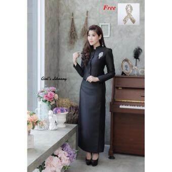 Dokpikul-ชุดผ้าไหมไทยจิตรดา ชุดงานศพพระราชทาน ไทยจิตรลดา สีดำ งานผ้าไหมสองเส้น-สีดำ(Int:S)