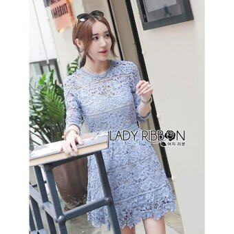 Elisa Thailand เสื้อผ้าแฟชั่นสไตล์เกาหลี Lady Ribbon Lady Ariana Sweet Feminine French Lace Dress in Light Blue
