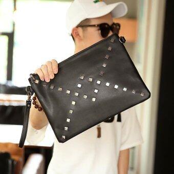 แฟชั่นเกาหลีกระเป๋าคลัตช์มือยึดคนใหม่กระเป๋าถือกระเป๋าถือกระเป๋าเอกสารในมือผู้นำ-สีดำ