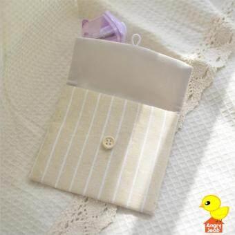 กระเป๋าผ้าอนามัย แบบกระดุม ผ้าฝ้าย ลายทาง สีครีม