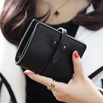 สตรีกระเป๋าสตางค์หนังมินิลีกที่เก็บบัตรพับครึ่งกระเป๋าสตางค์กระเป๋าถือสีดำ