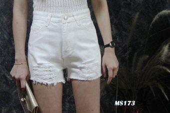 Platinum Fashion กางเกงยีนส์ขาสั้นเอวสูง แต่งขาด รุ่นMS173