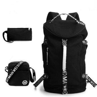 แฟชั่นกระเป๋าเป้ขนาดใหญ่ความจุสันทนาการใหม่นักเรียนชายเกาหลีกระเป๋าเป้ผ้าใบย้อนกลับ (ขนาดใหญ่/สีดำ)