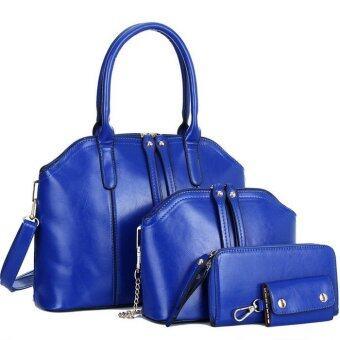 RichCoco กระเป๋าแฟชั่นเกาหลี + กระเป๋าสตางค์ผู้หญิง + กระเป๋าสะพายข้าง +กระเป๋าใส่พวงกุณแจ เซ็ต 4 ใบ(สีน้ำเงิน)