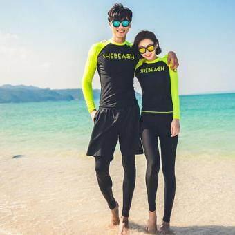 Dolly ชุดว่ายน้ำชาย ชุดดำน้ำพรีเมียม 3 ชิ้น (เสื้อแขนยาว+กางเกงขายาว+กางเกงขาสั้น) (สีดำ-เขียว) รุ่น8023