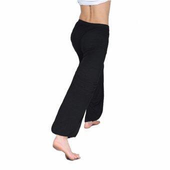 เมื่อเช้าต่าย Chi กางเกงกางเกงกางเกงกางเกงกีฬาโยคะขนาด L-3XL ใหม่กางเกงหลวมแนวชายกางเกงสีดำ
