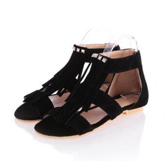 ปีหญิงสาวผมรัดรองเท้าแตะโบฮีเมียโรมันรองเท้าตอกหมุดพู่ไอ้แฟลต-ระหว่างประเทศ