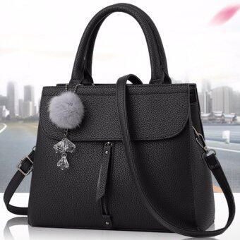 Good things For u กระเป๋าสะพายข้างผู้หญิง หนัง PU แฟชั่นเกาหลี รุ่น 0034HB - สีดำ