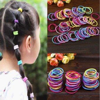 Harga 100Pcs/set Korean Fashion Colorful Elastic Hair Ropes Hair Ties Ponytail Holder Hairbands For Baby Girls - intl