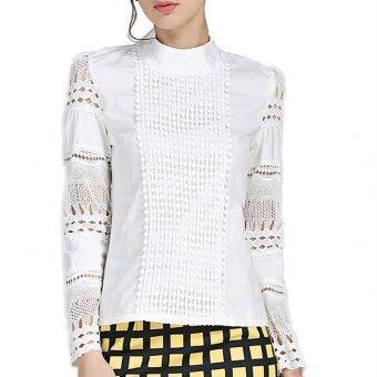 เสื้อสตรีไซส์พิเศษ S-5XL งดงามแขนเสื้อยาวปี 2559 ขาวผอมถักลูกไม้ผ้าฝ้ายเสื้อสตรีเสื้อเชิ้ตกลวง