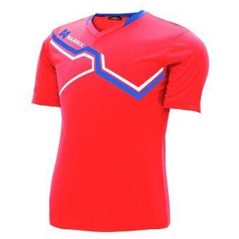 WARRIX SPORT เสื้อฟุตบอลพิมพ์ลาย WA-1516 สีแดง-น้ำเงิน