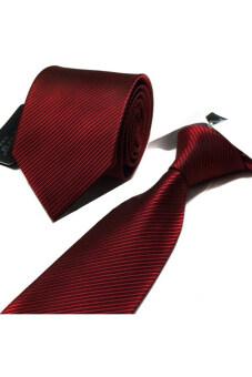 Gracefulvara ผู้ชายสวมสูทผูกลวดลายลายขัดธุรกิจเนคไท 147.32ซม-ดำแดง-ระหว่างประเทศ