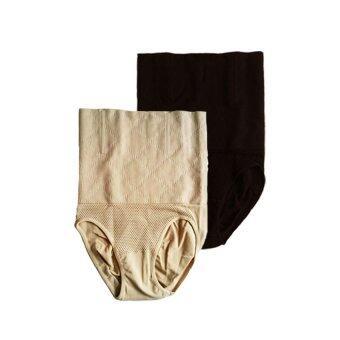 Miracle Bra กางเกงใน กระชับสัดส่วน ลดพุง เก็บหน้าท้อง ยาวถึงขอบบรา (สีเนื้อ+สีดำ) – 2 ตัว