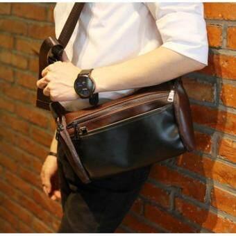 OSAKA กระเป๋าสะพายไหล่ สไตล์เท่ๆ หนัง PU รุ่น NE804 (สีกาแฟคาดดำ)