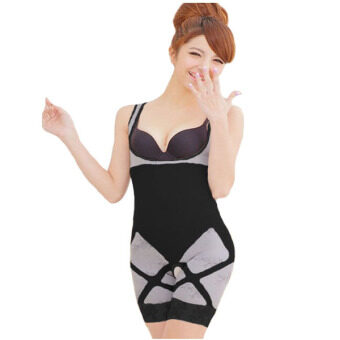 ชุดกระชับสัดส่วน Bamboo Slimming Suit ชุดกระชับสัดส่วนเต็มตัว ชุดเสริมบุคคลิก (สำหรับผู้ที่มีน้ำหนักไม่เกิน 80 Kg) - สีดำ