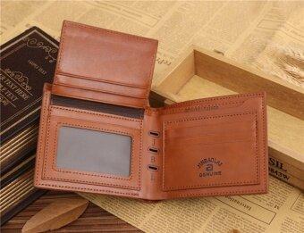 Leegoal พับครึ่งมนุษย์เงินธุรกิจหนัง Pu สีกระเป๋าสตางค์ (กาแฟ) (image 4)