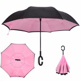 Reverse Umbrella ร่มหุบกลับด้านมือจับตัว C-สีชมพู
