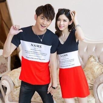 ชุดคู่รัก พร้อมส่ง ชายเสื้อยืดลายสีกรมขาวแดง + หญิงเดรสแขนกุด สีกรมขาวแดง