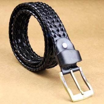 A-shop เข็มขัดผู้หญิง เข็มขัดหนัง สไตล์วินเทจ Knit-110Black