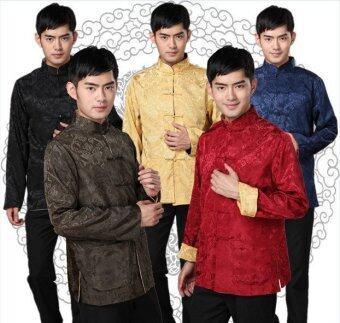 ขายดีที่สุดชุดกี่เพ้าของจีนสำหรับผู้ชายชาวจีนตั๋งเหมาะสำหรับร้านอาหารแต่ง DND (สีดำ+สีเทา)