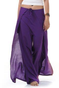 Princess of Asia กางเกงผ่าข้าง กางเกงแบบผูก กางเกงพัน (สีม่วง)