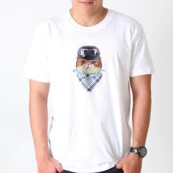 POLOMAKER เสื้อยืด TLO01 สีขาว สกรีนลาย Biker Cat (ช)