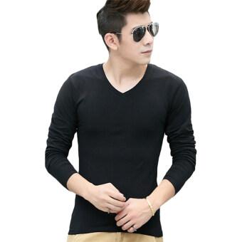 แขนเสื้อยาว Hequ บุรุษเสื้อยืดบางเสื้อยืด (สีดำ)