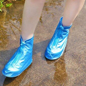 Harga Waterproof shoe covers women and men rain shoe covers fashion non-slip shoe covers - Blue - intl