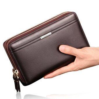 กระเป๋าถือหนังแท้หนังเพศชายความจุขนาดใหญ่ธุรกิจกระเป๋าสตางค์คลัตช์ (สีน้ำตาล)