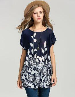 นิวแฟชั่นเสื้อผ้าสตรีชุดผ้าไหมหลวมพิมพ์น้ำแข็งแต่งตัวดอกไม้ฤดูใบไม้ร่วงฤดูร้อน 4 สี