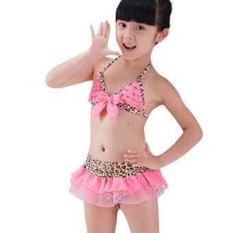 IIS ชุดว่ายน้ำสำหรับเด็กประมาณ5-7ขวบ พร้อมหมวกกันแดด ลายเสือสีชมพู(Pink)