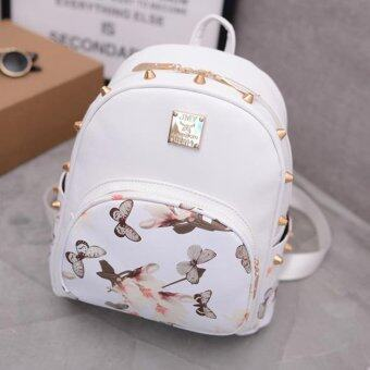 Little Bag กระเป๋าสะพายหลัง กระเป๋าแฟชั่นเกาหลี รุ่น LP-026 (สีขาวลายดอกไม้)
