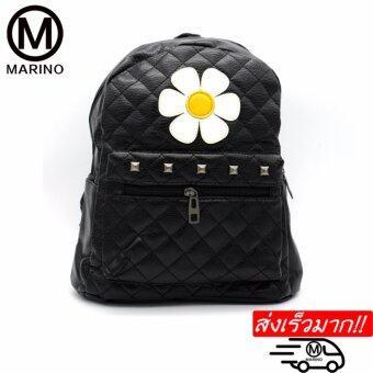 Marino กระเป๋า กระเป๋าเป้สะพายหลังสีดำ กระเป๋าหนัง PU No.0227- Black