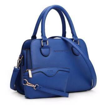 กระเป๋าถือ กระเป๋าสตางค์ ผู้หญิง เซต 2 ใบ สีฟ้าทะเล รุ่น YYH6022