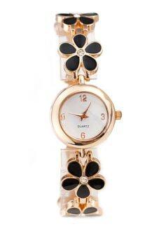แฟชั่นสตรีสาวเดซี่ดอกไม้ดอกกุหลาบโกลเด้นกำไลสร้อยข้อมือนาฬิกาข้อมือสีดำ