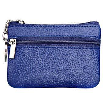 ผู้หญิงผู้ชายหนังแท้มินิซิปกระเป๋าสตางค์กุญแจเงินเหรียญอัฐ (ฟ้าหลวง)