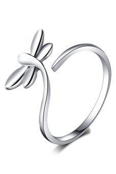 Fancyqube 925 สเตอร์ลิงเงินแหวนนิ้วนาง Dragonflysilver เปิดปรับได้