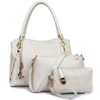 RichCoco SET กระเป๋าแฟชั่นเกาหลี + กระเป๋าถือผู้หญิง + กระเป๋าสะพายข้าง + เซ็ต 3 ใบ (สีขาวมุก)
