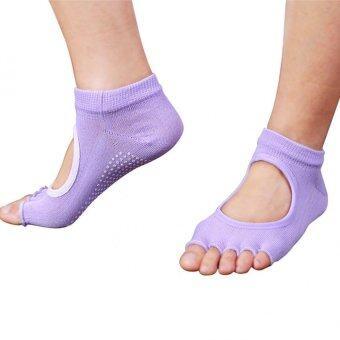 5คนชายห้องออกกำลังกายโยคะนิ้วลื่นยางพื้นรองเท้ากีฬาถุงเท้ารำเท้าข้างถุงเท้าสีม่วง