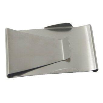 เพศชายหญิงเหล็กกล้าไร้สนิมโลหะเงินบัตรเอทีเอ็มบัตรเครดิตกระเป๋าสตางค์สองข้างหนีบยึด