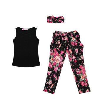 Allwin ทารกแรกเกิดหญิงชุดแฟชั่น+เสื้อยืด+ดอกไม้เสื้อผ้าเด็กกางเกงชุด 130