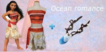 Harga Fashion Ocean Romance Cos Moana Cosplay Costume (Clothing + Necklace) - intl