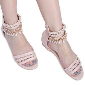 รองเท้าแตะส้นสุภาพสตรีโบฮีเมียร้อนสู้สานขุดลูกปัด (สีชมพู)
