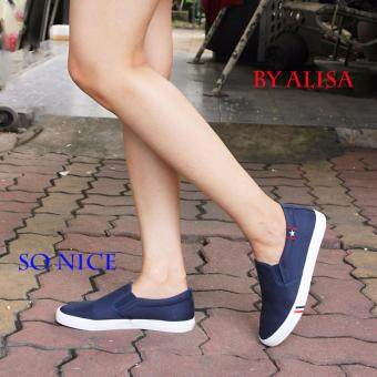 Alisa Shoes รองเท้าผ้าใบผู้หญิงแฟชั่น รุ่น LM 688 Navy