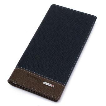 กระเป๋าสตางค์กระเป๋าถือหนังยาวชายถือกระเป๋าเงินเหรียญบัตรพับครึ่งกระเป๋าคลัตช์สีน้ำเงิน