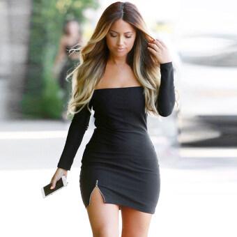 ผู้หญิงเซ็กซี่เกินไปในโลกไซเบอร์ไหล่แขนเสื้อ Bodycon มินิปาร์ตี้แต่งตัว Clubwear ชุด (สีดำ)